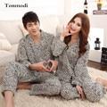 Casal Amor Sleepwear Pijama de Cetim de Seda Pijamas De Seda Das Mulheres de Manga Longa Lapela Cardigan Das Mulheres Dos Homens Pijama Set Lounge Pijama