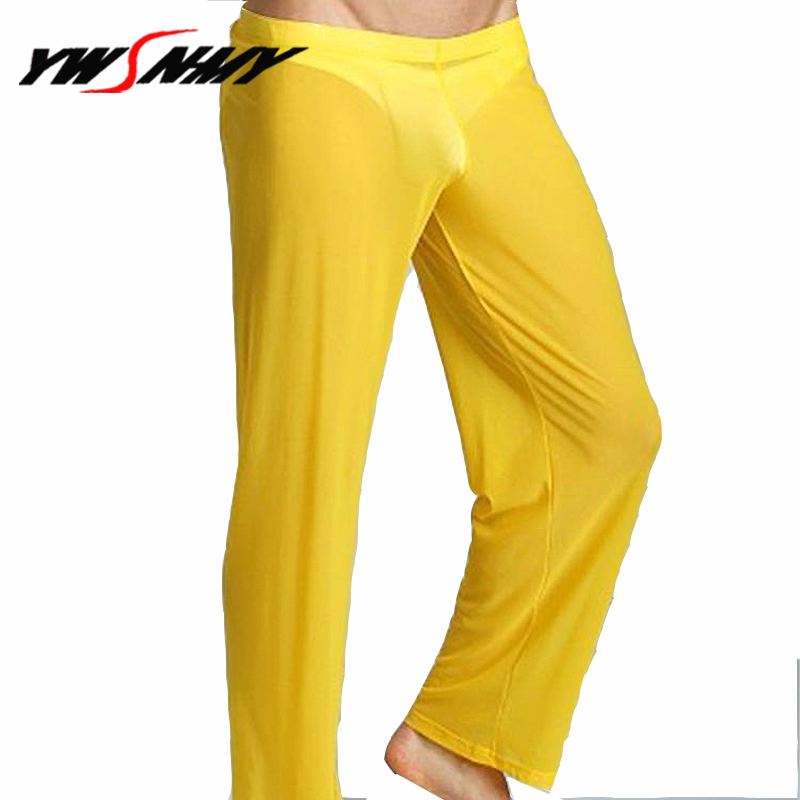 Transparent Long Pants Sexy Men Loose Mesh Loose-Fitting Fitness Pants Pyjama Trouser Sleep Pant Sheer Ultra-thin Gay Lingerie