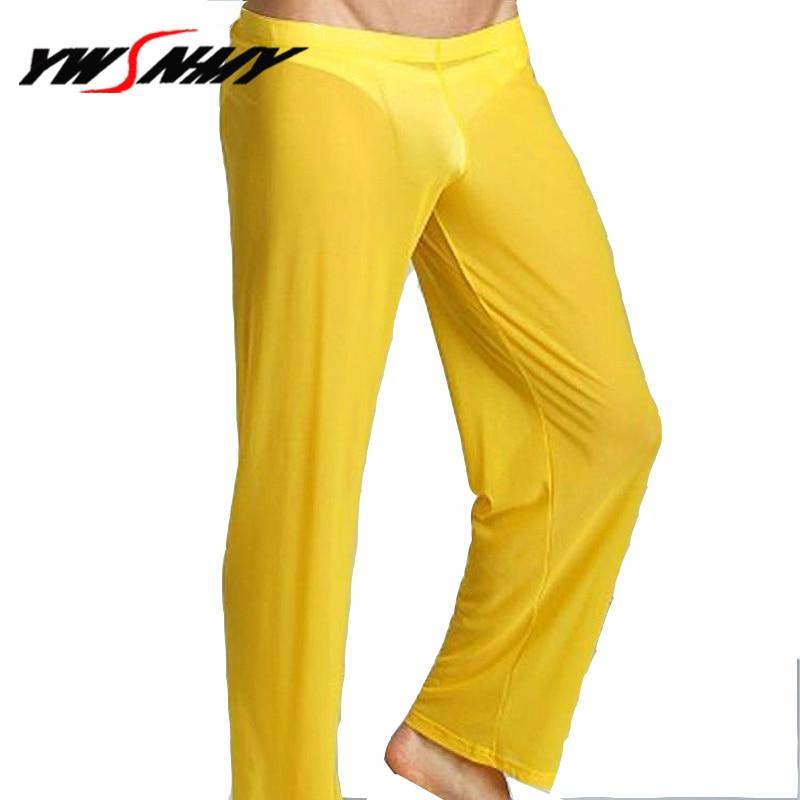 Transparent Long Pants Sexy Men Loose Mesh Loose-Fitting Fitness Pants Pyjama Trouser Sleep Pant Sheer Ultra-thin Gay Lingerie