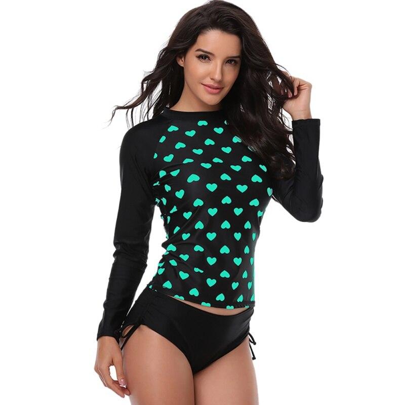 Women Dot Swimsuit UV Sun Protection Long Sleeves Surfing Swimwear Women Bathing Suit Rash Guards Sportswear Bathing Suits