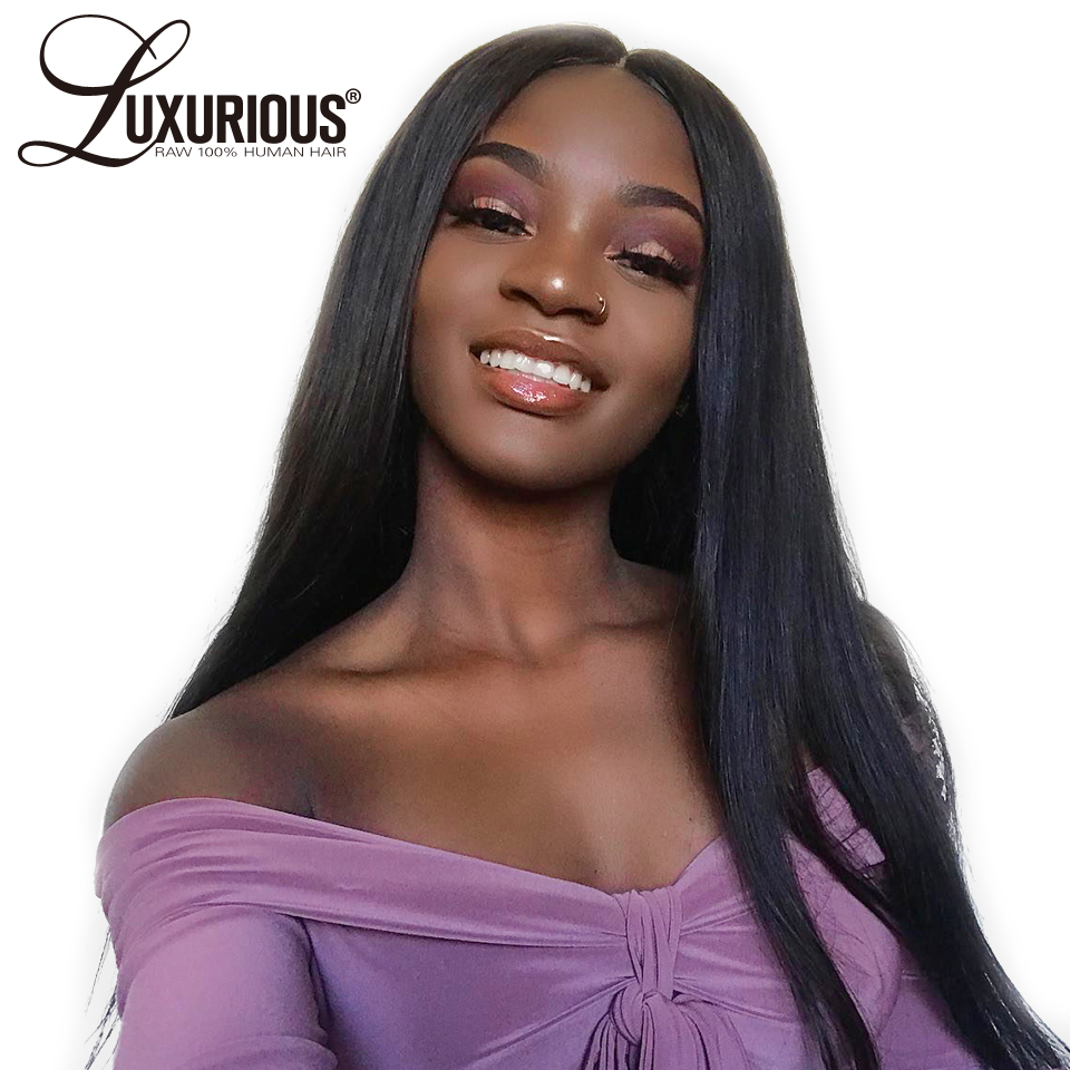 Straight Full Lace Human Hair Wigs For Black Women Pre Plucked Hairline Full Lace Wig Brazilian Remy Bleched Knots Swiss Lace(China)
