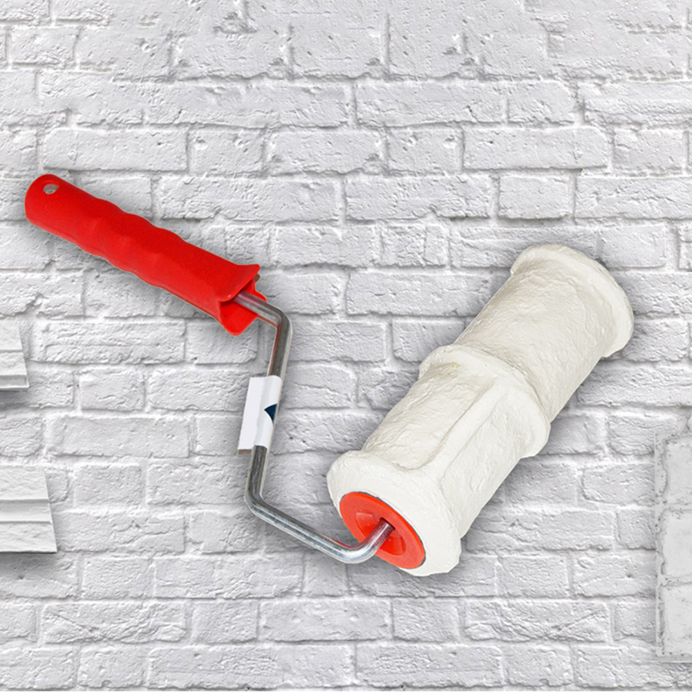 Brick Pattern Paint Roller 8 Inch Brush Handle Rubber Embossing Art Construction Tool Home DIY Paint Roller Wall Decoration