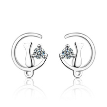Fashion Simple 925 Sterling Silver Clear Zircon Cute Lover Moon Cats Stud Earrings For Kids Children Girls Women Gift Jewelry стоимость