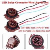 Soporte para bombillas LED, 2 uds., 3157, 3057, conector de cable de extensión, línea de arnés de parada inversa 1156, 1157, 3156, 7440, 7443, BA15S, P21W