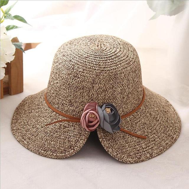 26a4da18cf3e9 summer Straw Solid Ladies Cap Adjustable rose Decoration Sun Hat Snapback  Outdoor Sports Folding Gorras Hip