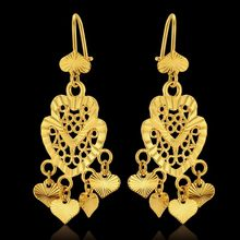Gold Color Chandelier Love Heart Bohemian Big Drop Dangle Long Earrings For Women Wedding Jewelry Aros Pendientes Colgantes(China)