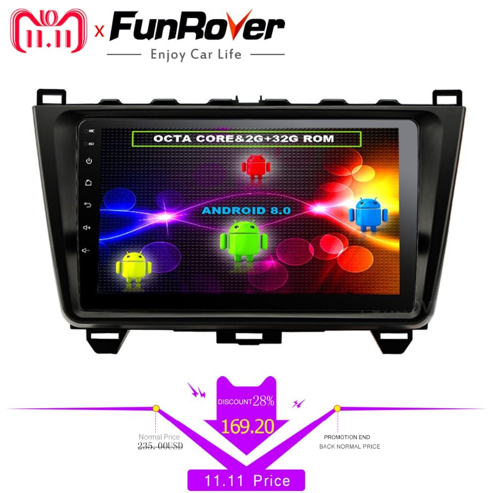 Funrover 8 cores Android 8.0 2 din Car Multimedia radio player dvd For MAZDA 6 Mazda6 Ultra 2008- 2015 headunit gps navi stereo jada