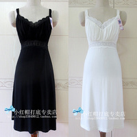 Vintage summer all match black white modal cotton spaghetti strap basic skirt one piece dress high waist v neck lace underdress