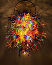 Hot Sale Multicolor Flush Mounted LED Bulbs Art Glass Chandelier Lighting