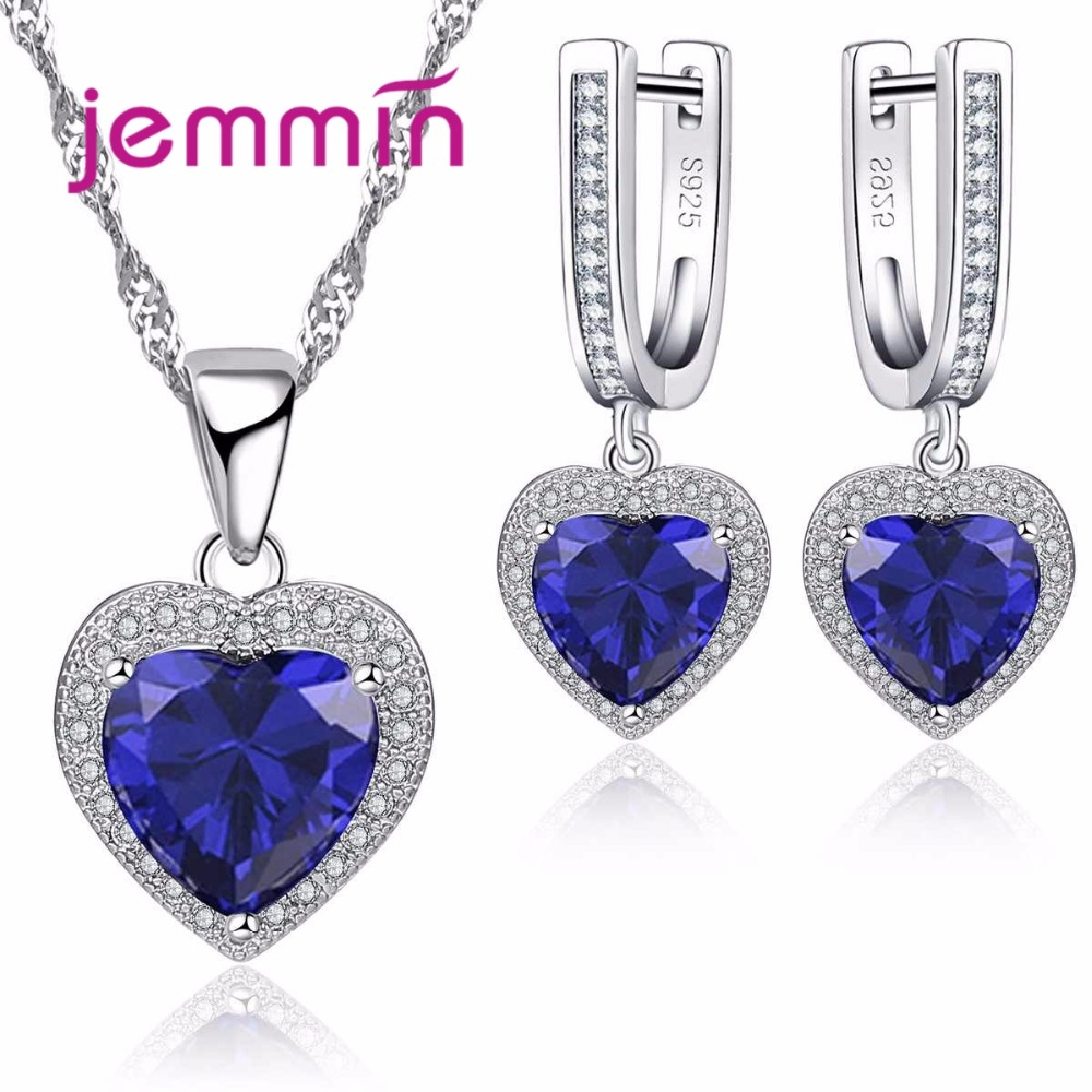 Fine 925 Sterling Silver Wedding Jewelry Sets For Brides Valentine Day Sapphire Crystal Pendants Necklaces Earring Sets