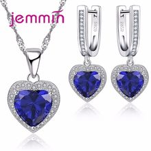 Fine 925 Sterling Silver Wedding Jewelry Sets For Brides Valentine Day Sapphire Crystal Pendants Necklaces Earring Sets(China)