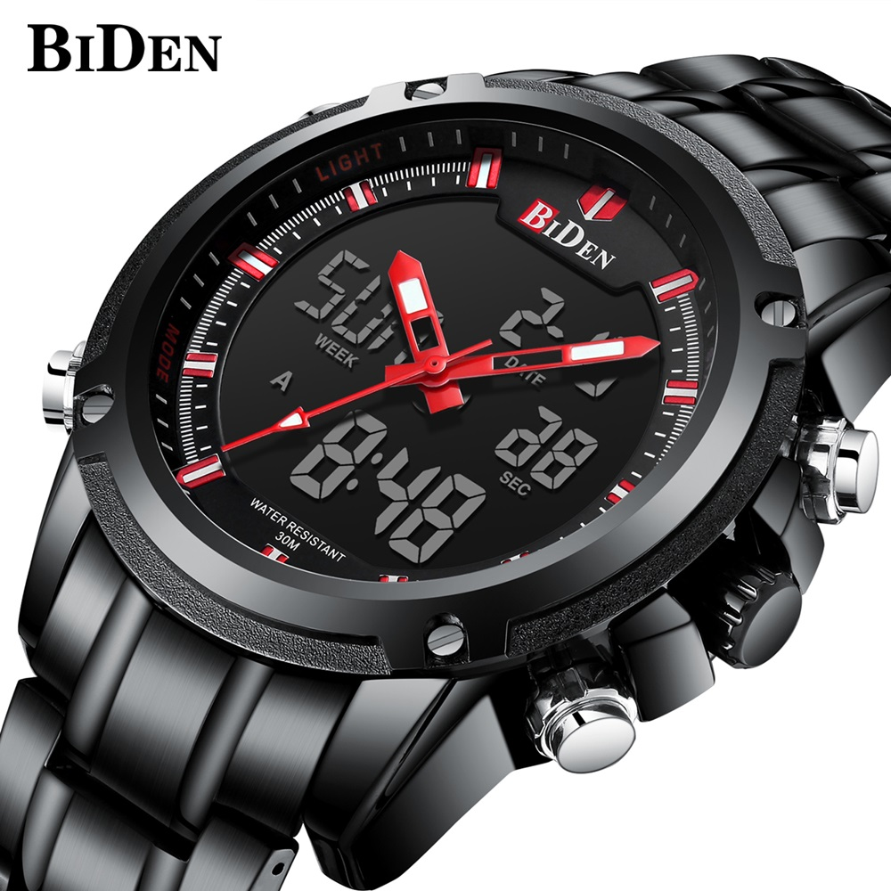 все цены на BIDEN Military Sport Watch Men Top Brand Luxury Famous Electronic LED Digital Wrist Watches Male Clock For Man montre homme