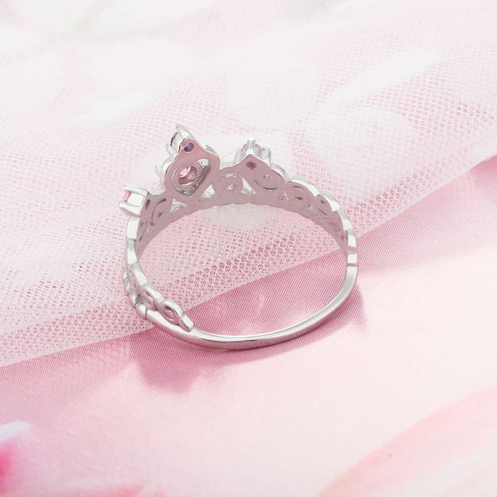 Fashion 925 Sterling Silver Crown Rings For Women Pink Purple Stones ...