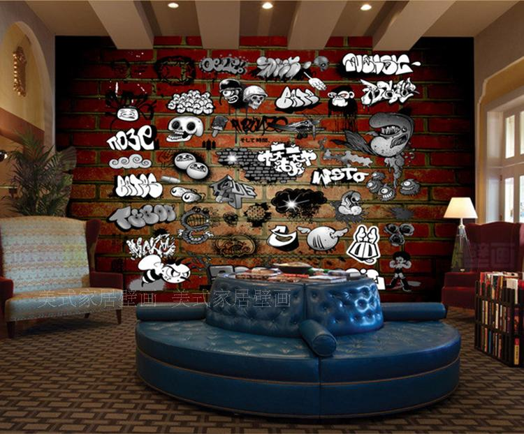 3D Photo Wallpaper Personality Graffiti 3D Retro Brick Wall Mural Living  Room Sofa Background Coffee Shop Wallpaper  In Wallpapers From Home  Improvement On ... Part 59
