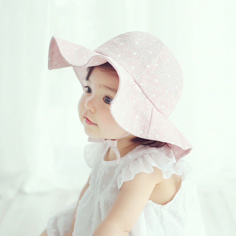 Panama Korean Sun Hats Girl Wide Brimmed Cap Solid Beach Hat Photography Props Hollow Beanies Spring Autumn Baby Girls Clothing