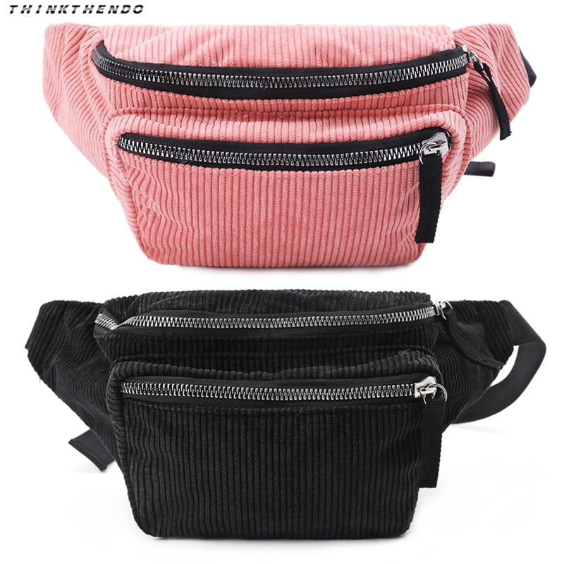 537b22047a95 THINKTHENDO Fashion Women Waist Pack Corduroy Chest Pack Girls Female  Vintage Phone Pouch Belt ...