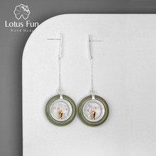 Lotus Fun – boucles d'oreilles pendantes pour femmes, bijoux fins en argent Sterling 925 fait à la main, classique, éléments Oriental, Vase de fleurs