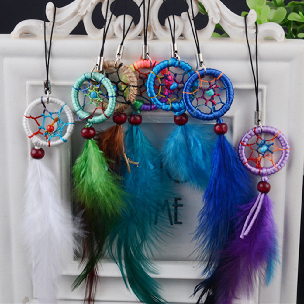 цены MALUOKASA 1Pcs Handmade Indian Dream Catcher Net with Feathers Wind Chimes Wall Hanging Dreamcatcher Car Ornaments Decoration