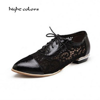 Big Size 32 48 Women Summer Spring Autumn Flats Pointed Toe Shallow Mouth Flat Heel Lace