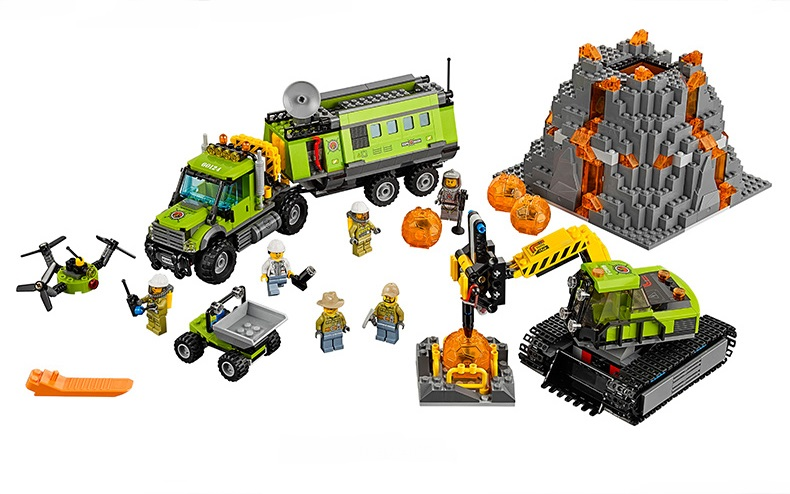 bricks toy DIY Building Blocks 02005 Compatible with Lego City Volcano Exploration Base 60124 lepin 02005 volcano exploration base building bricks toys for children game model car gift compatible with decool 60124