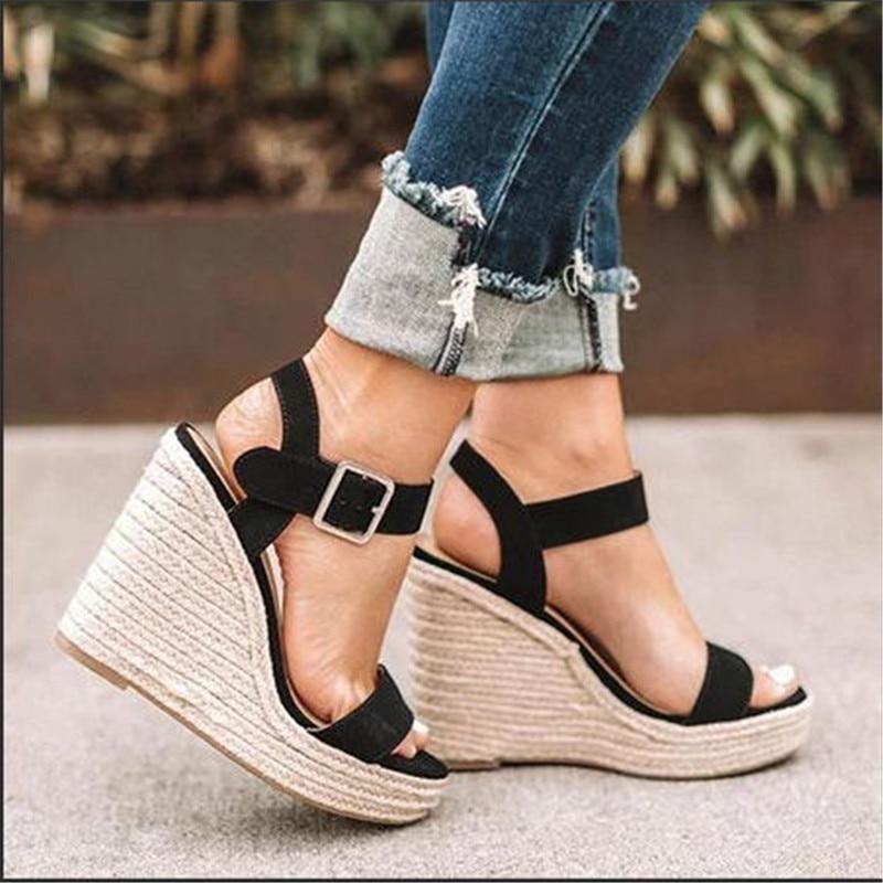 HTB1GMqvX8WD3KVjSZFsq6AqkpXaf Women Shoes Platform Sandals Women Peep Toe High Wedges Heel Ankle Buckles Sandalia Espadrilles Female Sandals Shoes