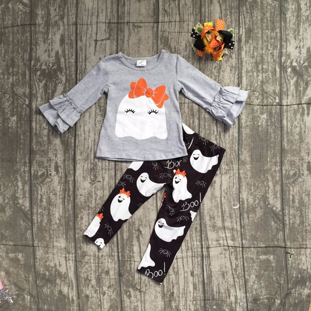 baby girls Fall/ Autumn clothing girls Halloween party outfits kids ghost print Halloween long pants clothes with matching bows halloween orange petal pettiskirt with matching white long sleeve top with orange ruffles