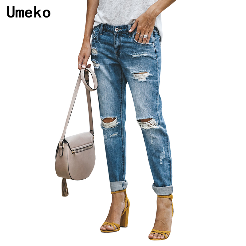Ripped   Jeans   Woman Skinny Distressed Rock Denim   Jeans   Female Hollow Out Distressed Casual Ladies Trousers Fashion 2019