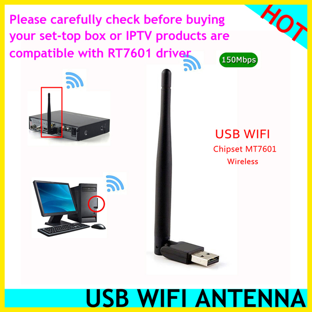 Best Usb Wifi Adapter 2020 HOT MT7601 MTK7601 External USB WiFi Adapter Antenna Dongle for v9