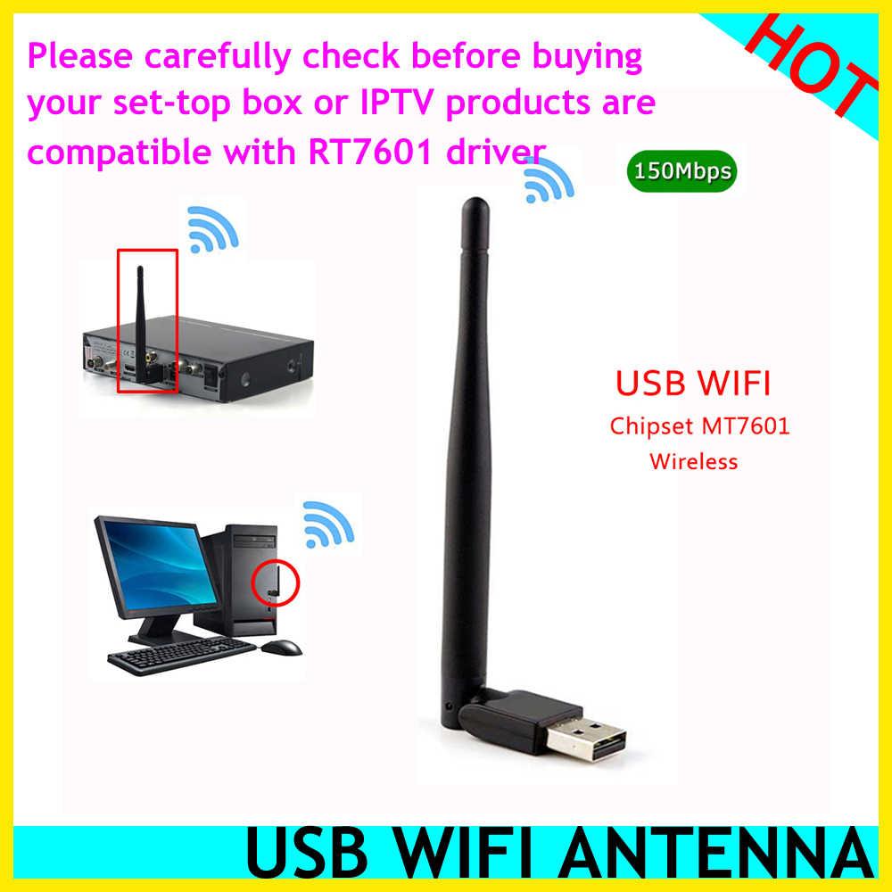 HOT MT7601 MTK7601 externe USB WiFi adaptateur antenne Dongle pour v9 pro v9super Skysat S2020 V20 GTMEDIA V7SHD V7PLUS décodeur