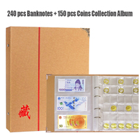 240 Holder Banknotes and 150 pcs Coin Collection Album Kraft Cover Transparent Sheet Paper Money Currency Coin Collecting Book