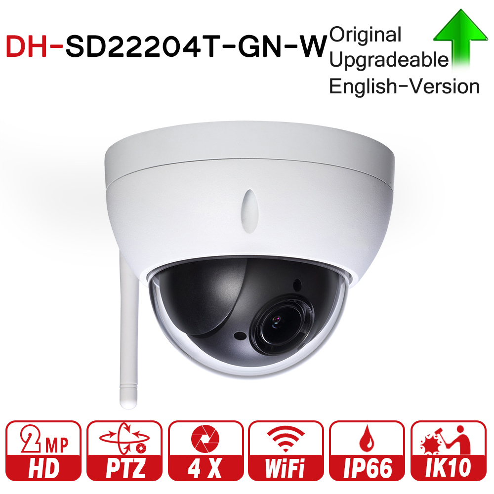 DH SD22204T-GN-W 2MP 1080P 4X Optical Zoom WiFi High Speed PTZ Wireless Network IP Camera WDR ICR Ultra DNR IVS IP66 IK10 original dahua 1080p mini ptz ip camera dh sd22204t gn 4x zoom hd network speed dome camera onvif sd22204t gn with power supply