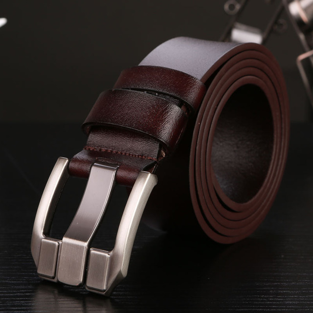 2017 mens cowskin genuine leather luxury strap male belts for men masculinos men's belt for jeans high quality free shipping