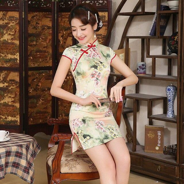 dfbbf7a09f W stylu Vintage chiński tradycyjny sukienki Mini Cheongsams z krótkim  rękawem Qipao sukienka krótka krótki chiński