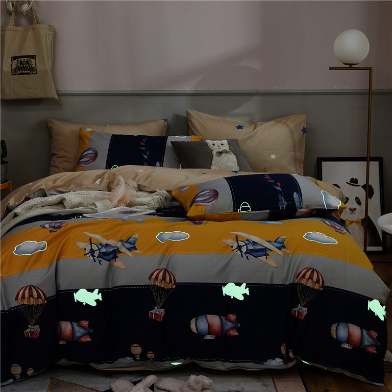 100 Cotton Soft Childens Boys Girls Luminous Glow in The Dark Blue Queen Twin size Bedding