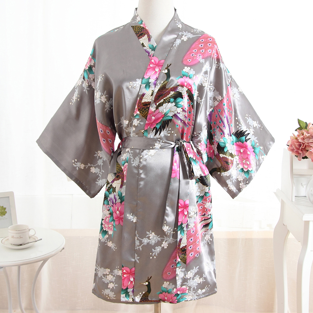 Sexy Mini Gray Women Rayon Nightgown Wedding Bridesmaid Bride Robe Bath Gown Peacock&Flower Kimono Plus Size Sleepwear