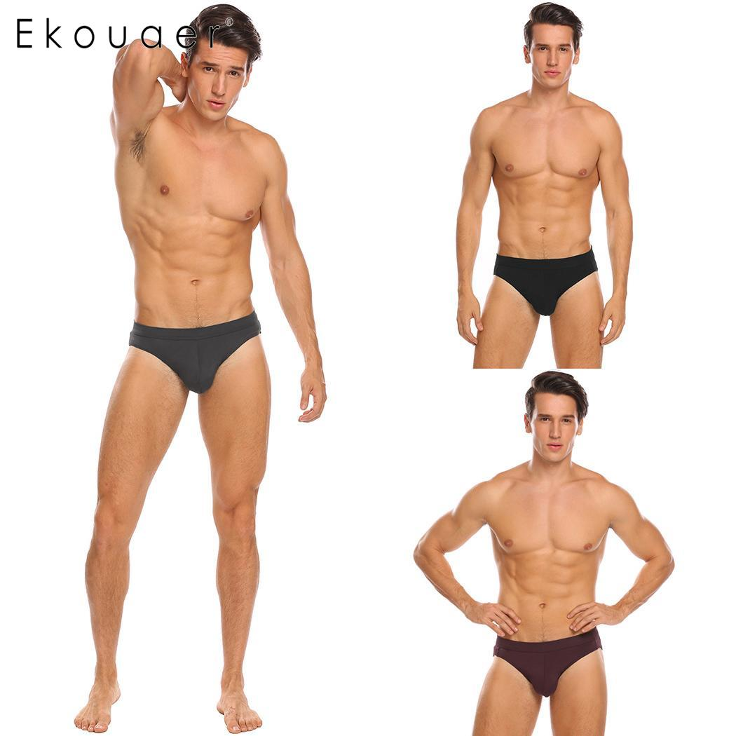 Ekouaer 3 Pcs/Pack Sexy Men Underwear Men Briefs Breathable Modal Underpants Lingerie Brief Male Panties Sets