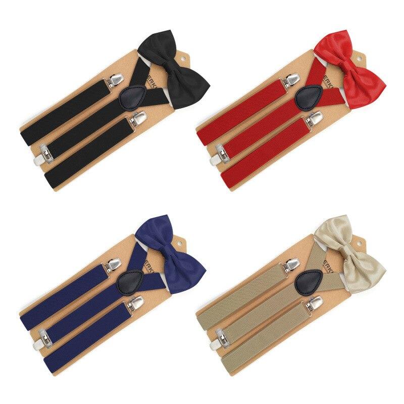 Solid Bow Tie Suspenders Men Women 3 Clip Leather Suspensorio Adult Bowtie Braces Trousers Navy Tirantes Hombre Para Pantalones