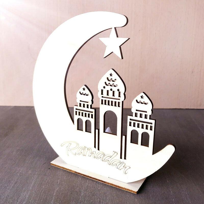 OurWarm Eid Mubarak Muslim Islam PE Table Cover Cloth With Napkins Moon Star Wooden Ramadan Kareem Eid Ramadan Party Decoration
