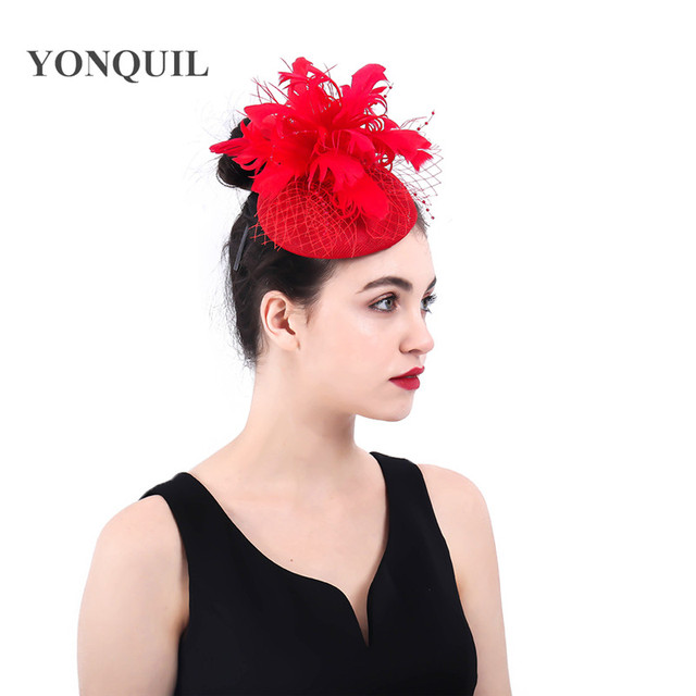 4a327b1789c Red Fascinator Hat Women Elegant Feather Flower wedding hair clips headwear  royal derby pillbox hats married hair accessories