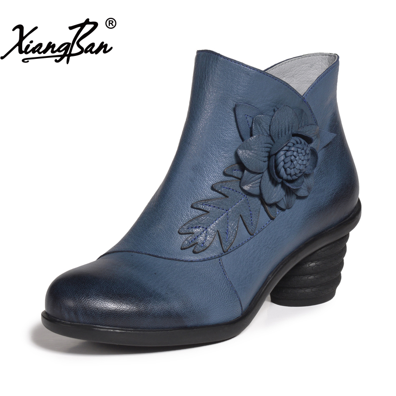 Women ankle boots handmade vintage flower garden style comfortable casual ladies shoes xiangban цена