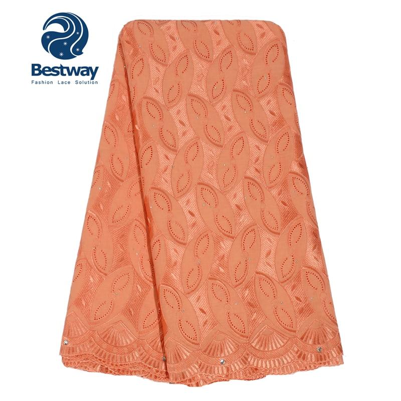 Bestway Broderad Cotton Swiss Voile Lace Fabric Torkduk Material Med - Konst, hantverk och sömnad - Foto 2