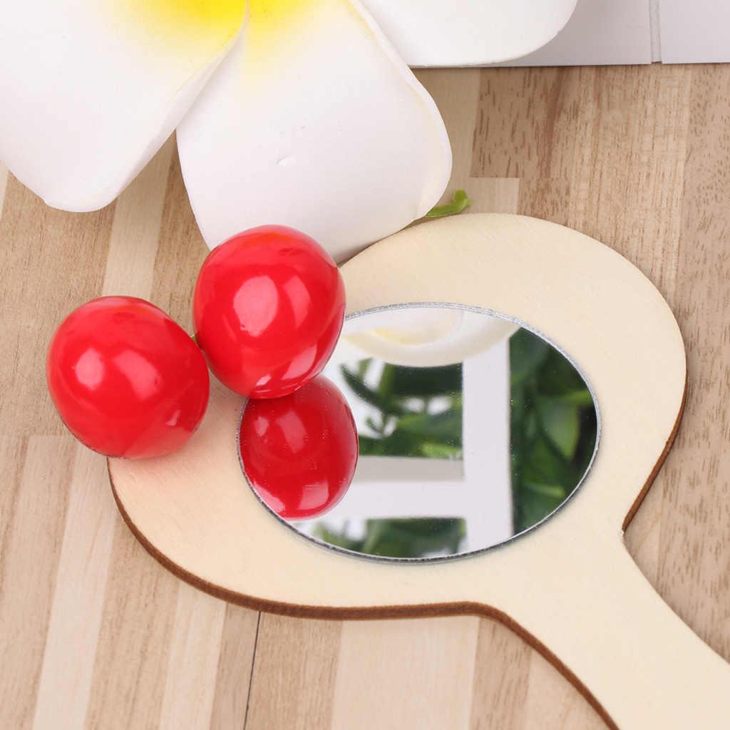DIY Kayu Putih Cetakan Cermin Lukisan Buatan Tangan Kerajinan Mainan Anak Perhiasan Bahan