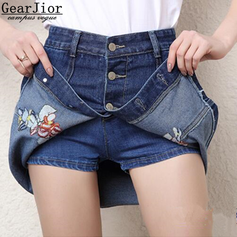 2017 New Hot Sale Women's Spring Summer Autumn Embroidery Cowboy Shorts Skirts Women's Breasts A Word Denim Skirt