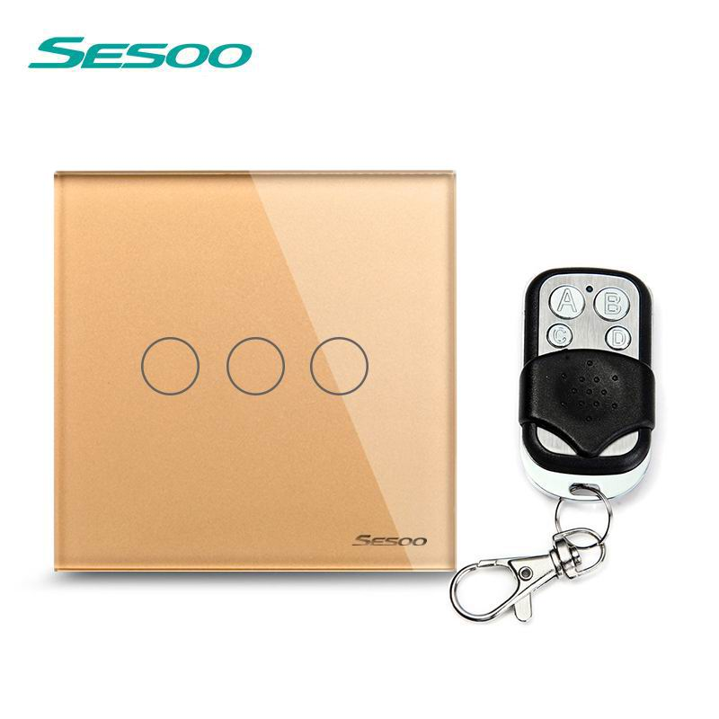 SESOO EU/UK Touch Switch LED Wall Light Switch 110-240V 3 Gang 1 Way Waterproof Crystal Tempered Glass Panels golden smart home us au wall touch switch white crystal glass panel 1 gang 1 way power light wall touch switch used for led waterproof