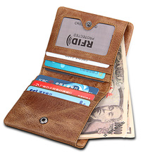 Rfid Men's Wallet Crazy Horse Genuine Leather Men Wallets Credit Business Card Holders Cowhide Leather Wallet Purse rfid crazy horse genuine leather men wallets credit business card holders double zipper cowhide leather wallet purse carteira