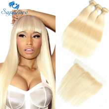 Safir Remy Hair 613 Blont hår med Closure Malaysian Hair Straight 2/3 Bundlar med Frontal Human Hair Weave Bundles Deals
