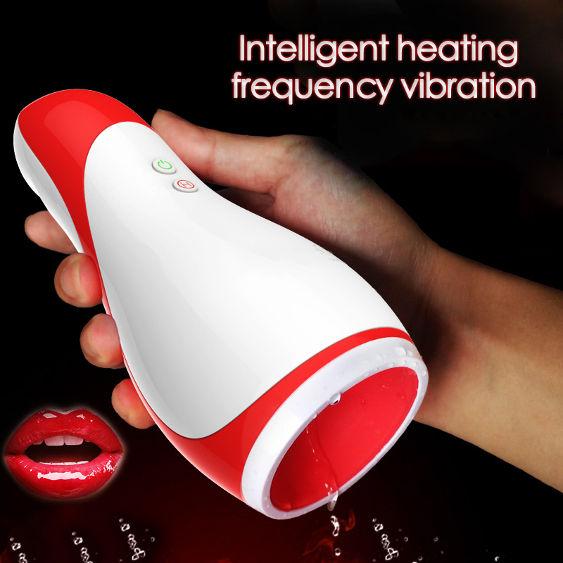 Strong Oral 3D Realistic Vaginal Internal Structure Intelligent Heating 10 Modes Smart Heated Vibrator Male Masturbation Cup