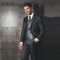 Fashion of men's suit of pure color high grade suit professional men's suit of the groom suit custom jacket + pants + vest + tie