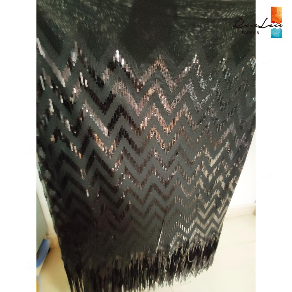 Tassels Sequins Style African Net Lace Elastic Fabrics 2019 High Quality Sequined Embroidered Mesh Lace Material Wedding Fabrics-in Lace from Home & Garden    2