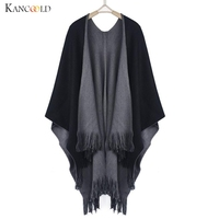 Sagace Brand New Women Autumn Winter Knitted Cashmere Poncho Capes Solid Dual Shawl Swing Cloak Cardigans